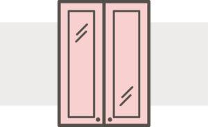 Open frame cabinet doors